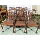 A set eight vintage dining chairs in the Georgian style.