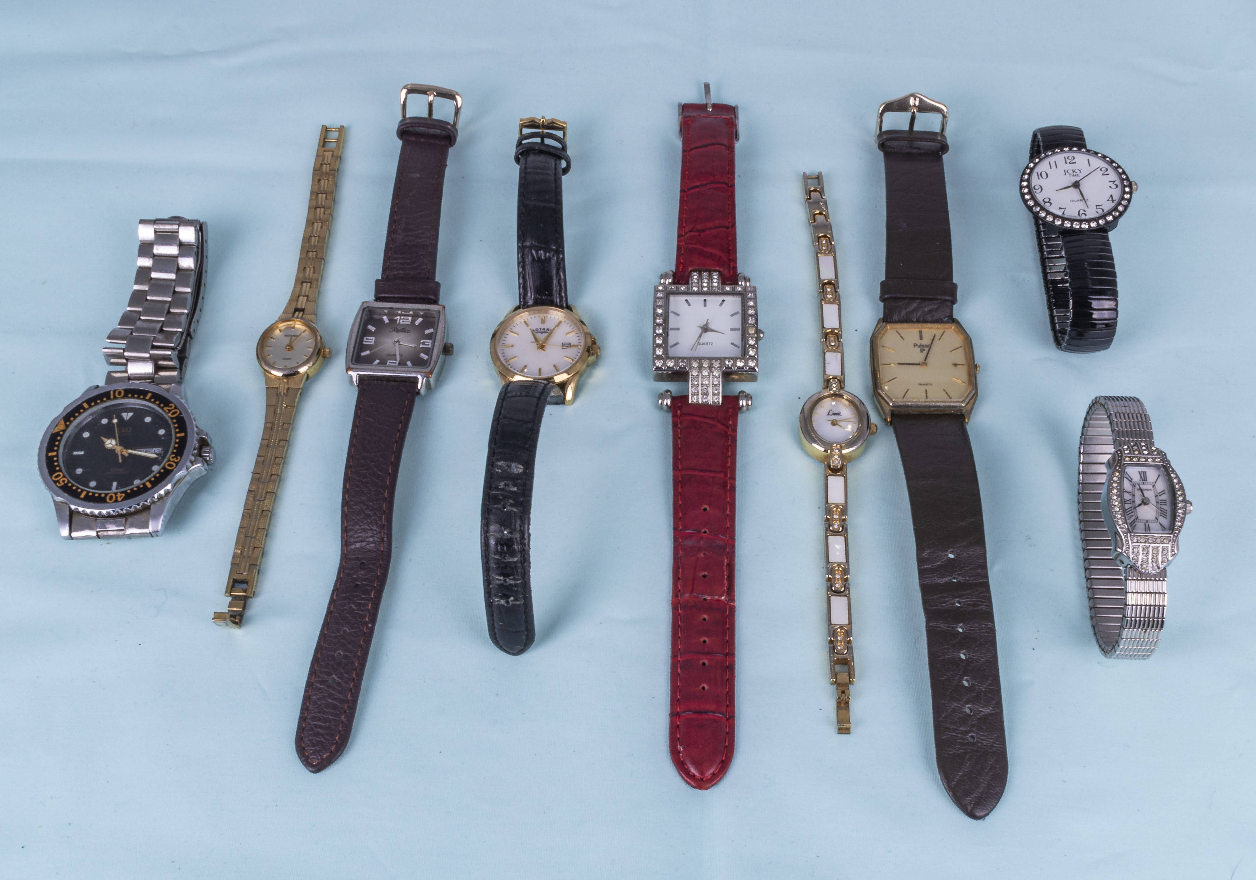 Nine miscellaneous wrist watches, Pulsar, Sekonda, limit and others