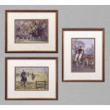 A small framed print of an amusing golfing scene, original by Field Smith