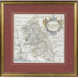 A framed antique map of Bedfordshire dated 1610-1637