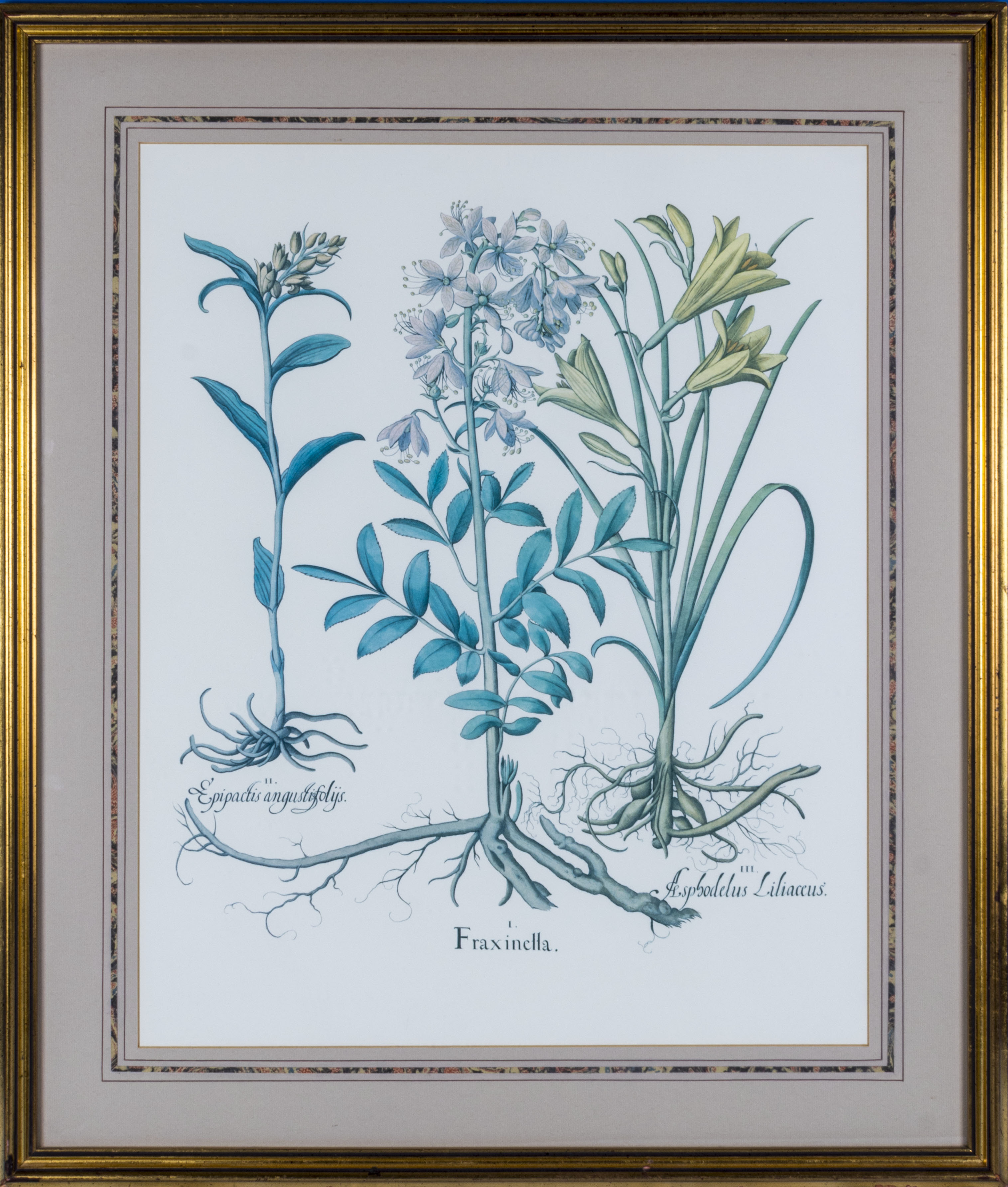 A large framed print depicting wild flowers