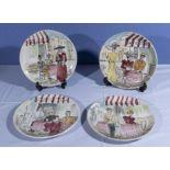 Four vintage Italian hand painted plates