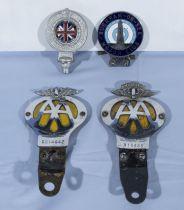 Four automobile car club badges
