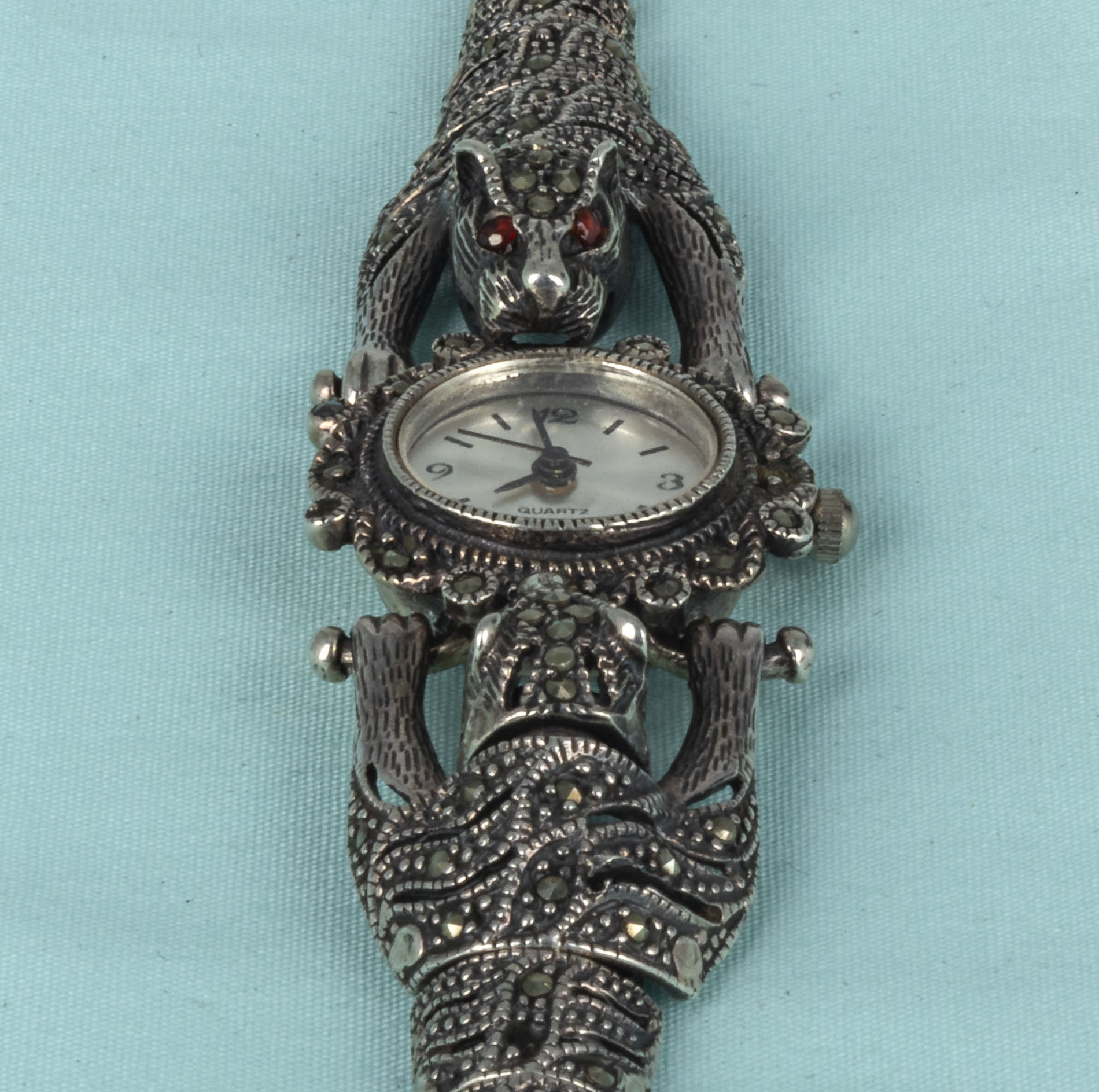 A lady's French marcasite and silver dress wristwatch with leopard shoulders - Image 3 of 4