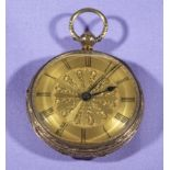 A small 18ct gold pocket watch, makers mark J&JH