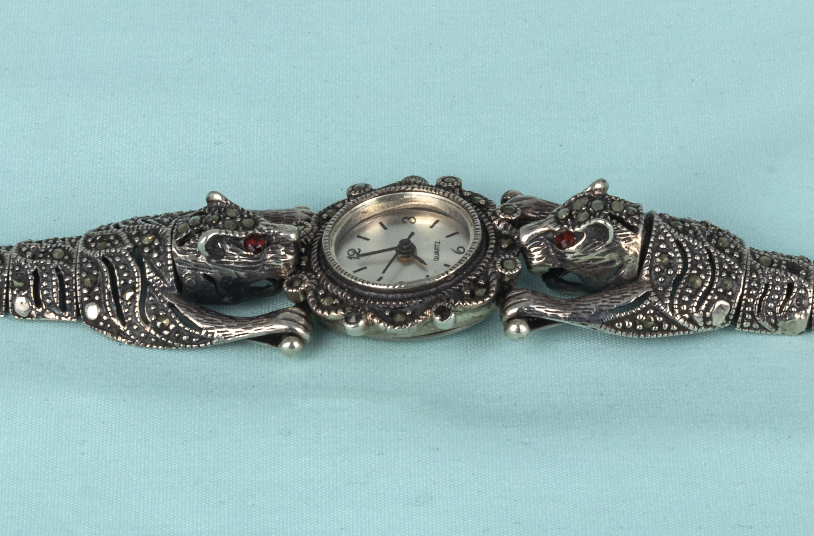 A lady's French marcasite and silver dress wristwatch with leopard shoulders - Image 2 of 4