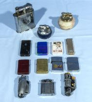 A collection of vintage cigarette lighters