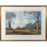 A large gilt framed print 'Rough Shooting' 77cm x 100cm