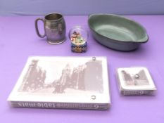 A Denby pottery serving dish, tankard and Hawick place mats