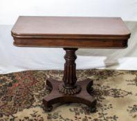 Early 19th century mahogany turnover card table