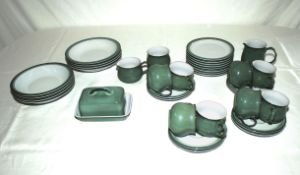 A Denby pottery part tea/coffee set, side plates and a butter dish