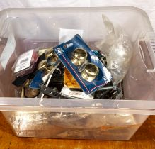 Box of cabinet door knobs and assorted fittings