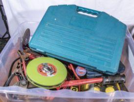 Box containing drill bills, jump leads, tool etc