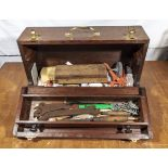 Wooden tool chest with drawer and various tools