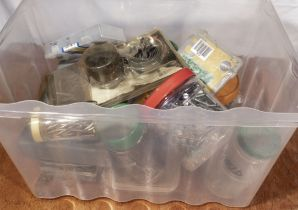Box of assorted screws, nails hole saws etc