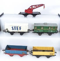 French Hornby O Gauge Crane Truck, Refrigerated Wagon, Luggage Van and two Open Wagons