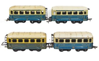Four vintage French JEP O gauge SNCF Pullman coaches