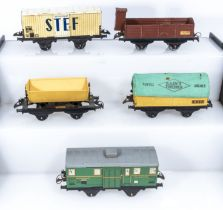 French Hornby O Gauge Refrigerated Wagon, Cattle Wagon, Tipping Wagon, Covered Wagon and a Luggage