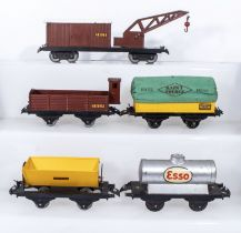 French Hornby O Gauge Breakdown Van and Crane ,Cattle Wagon, Covered Wagon, Tipping Wagon and ESSO