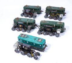 Five French O gauge SNCF BB 8051 locomotive shells and motors