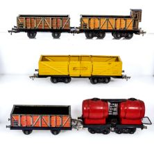 Vintage JEP O gauge railroading wagons, open freight wagon and a double bogie wine wagon