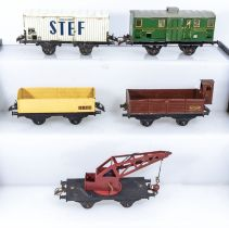 French Hornby O Gauge Refrigerated Wagon, Luggage Van, Open Wagon, Cattle Wagon and Crane Truck