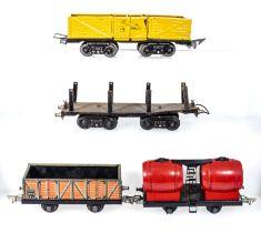 Vintage JEP O gauge open freight wagon, log wagon, platform wagon and a single bogie wine wagon