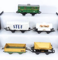 French Hornby O Gauge Luggage Van, Refrigerated Wagon, Primagaz Wagon, Open Wagon and a Tipping