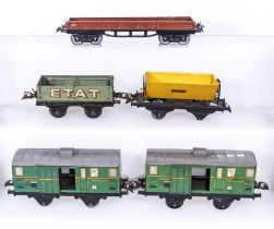 French Hornby O Gauge Low Sided Wagon, ETAT Open Wagon, Tipping Wagon, and two Luggage Vans