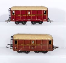 French JEP O gauge, two Poste and Telegraphes wagons