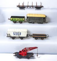 Vintage Hornby O gauge log wagon, dumper wagon, coach, refrigerated van, Jep flat bed and a crane