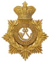 Channel Islands. Royal Jersey Light Infantry Victorian helmet plate. Good die-stamped brass