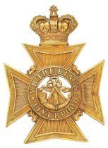 1st VB King's Liverpool Regiment Victorian helmet plate circa 1888-1901. Good scarce die-stamped