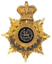 Welsh. South Wales Borderers Victorian Officer helmet plate circa 1881-1901. Fine gilt crowned