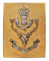 Scottish. Queen,s Own Highlanders post 1961 Officer shoulder belt plate. Good gilt rectangular