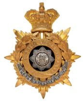 Cheshire Regiment Victorian Officer helmet plate circa 1881-1901 Good gilt crowned star mounted with