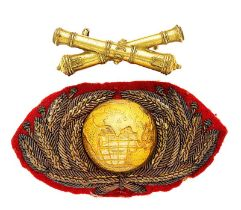 Royal Marine Artillery Officer forage cap badge circa 1903-22 Good two piece example. Scarlet backed