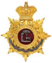 Berkshire Regiment Victorian Officer helmet plate circa 1881-85. Fine scarce rich gilt crowned