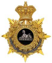 Gloucestershire Regiment Victorian Officer helmet plate circa 1881-1901. Fine gilt crowned star