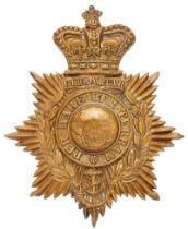 Royal Marine Light Infantry Victorian helmet plate circa 1878-1901. Good die-stamped brass crowned