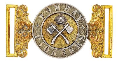 Indian Army. Bombay Pioneers Victorian Officer waist belt clasp. A good British made silver and gilt