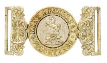 Kent Artillery Volunteers Victorian waist belt clasp circa 1885. Good scarce nickel interlocking