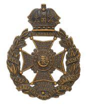 Rifle Brigade Victorian helmet plate circa 1878-90. Good die-stamped blackened brass Guelphic