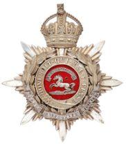 King's Liverpool Regiment VB/TF Officer helmet plate circa 1901-11. Good scarce die-stamped silver