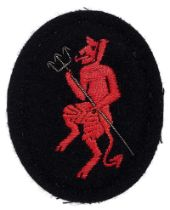 Inns of Court Regiment Officer beret badge WW2 period. Large padded black cloth oval bearing red
