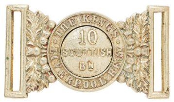 10th (Scottish) Bn. The King's (Liverpool Regiment) post 1908 waist belt clasp. Good scarce nickel