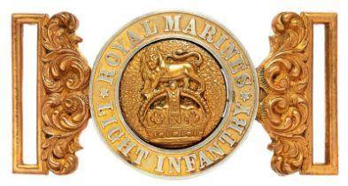Royal Marine Light Infantry Officer waist belt clasp circa 1902-22. Good silver and gilt
