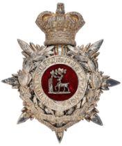 1st VB Royal Berkshire Regiment Officer helmet plate circa 1885-1901. Fine scarce silvered crowned