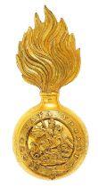 Northumberland Fusiliers Officer fur cap grenade circa 1867-1904. Good gilt flaming grenade, the
