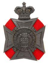 Queen's Westminster Rifle Volunteers post 1885 Victorian helmet plate. Good die-stamped blackened
